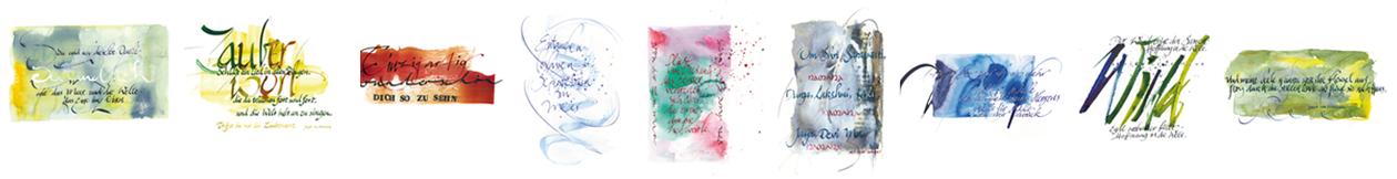 9 kalligrafische Postkarten