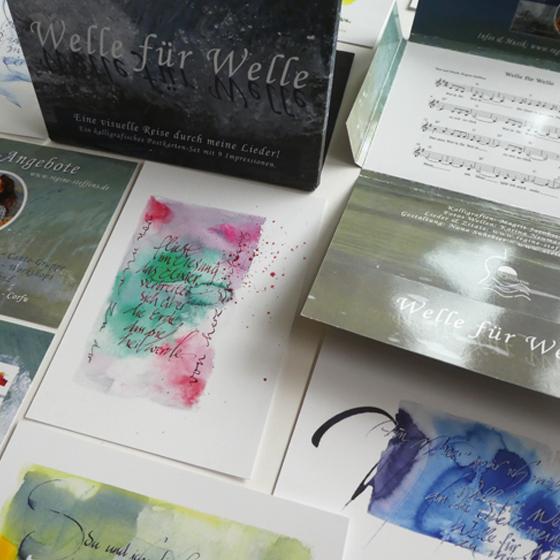 Postkarten-Set mit 9 kalligrafischen Impressionen